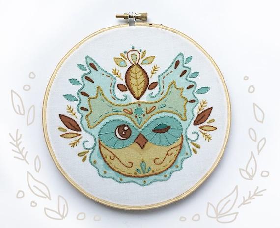 DIY craft Kit needlework Hoop Art Pattern Owl Leaves fabric Hand Embroidery Sampler for Beginners