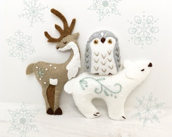 Winter Animals Mini Plush Felt Sewing pattern, felt toy, Christmas ornament, PDF Download, SVG files for cricut, silhouette
