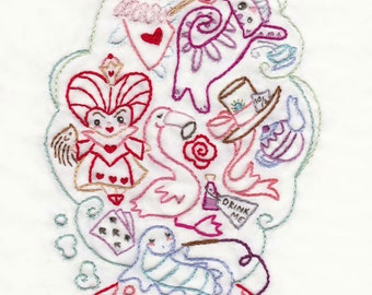 Down the Rabbit Hole Hand Embroidery Pattern, PDF Download for Alice in Wonderland Embroidery Art