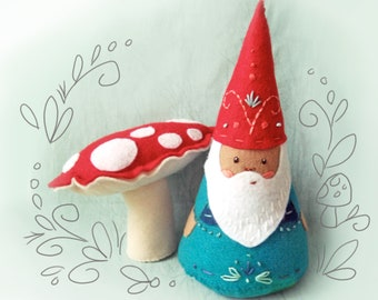 Plush Pattern Gnome and Mushroom, Felt Doll PDF Download, Plush Sewing Pattern, Felt Ornaments, Christmas Decoration, Santa, Hand Embroidery