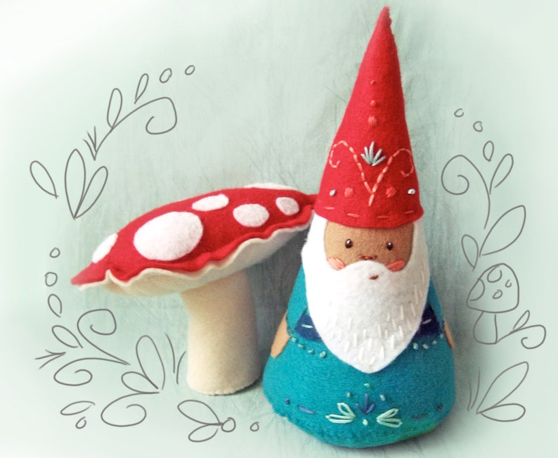 Gnome and Mushroom Plush Sewing Pattern Felt Doll PDF image 0