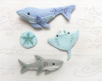 Sea Creatures Plush Sewing Pattern, Felt Animals PDF SVG Download, Blue Whale, Shark, Manta Ray, Felt Ornaments