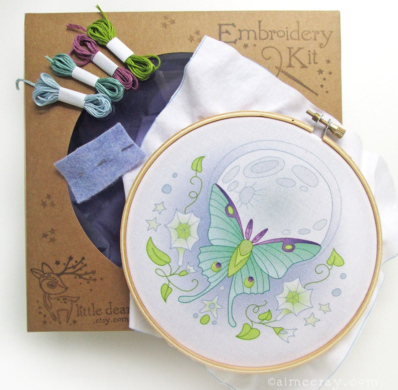 Hand Embroidery Kit Luna Moth Butterfly DIY Gift Embroidery image 0