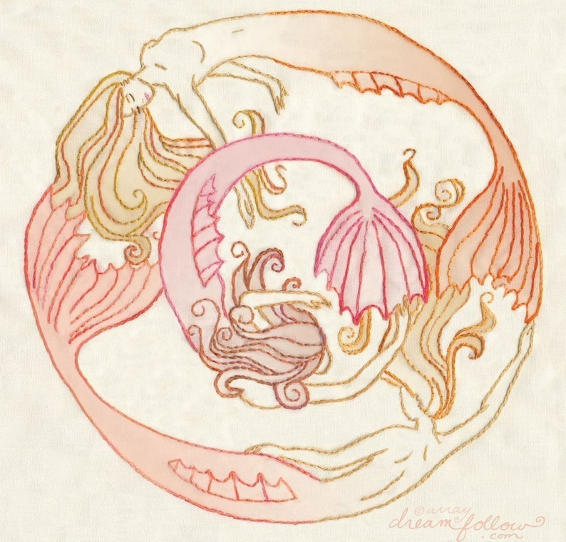 Hand Embroidery Pattern for Mermaid Circle PDF Download for image 0