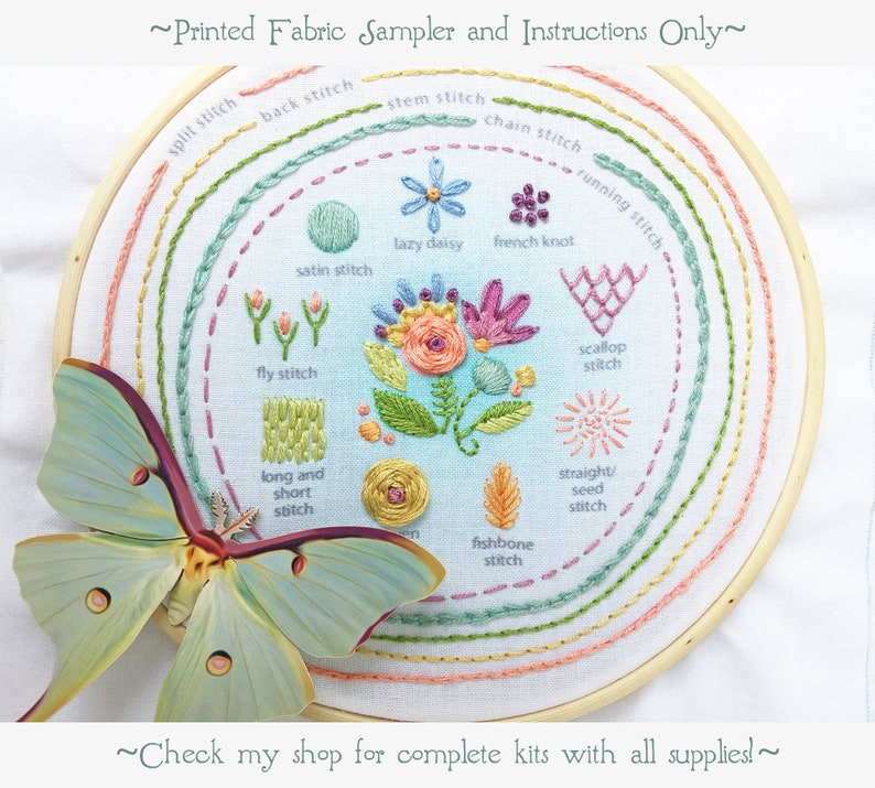 Stitch Sampler Beginner Embroidery design printed Hand image 0