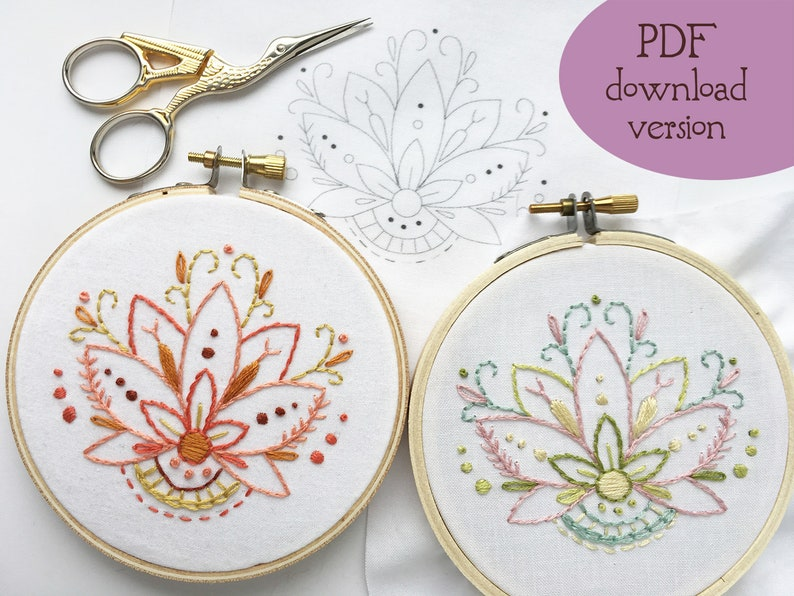 PDF download Mini Lotus Flower Hand Embroidery pattern floral image 0