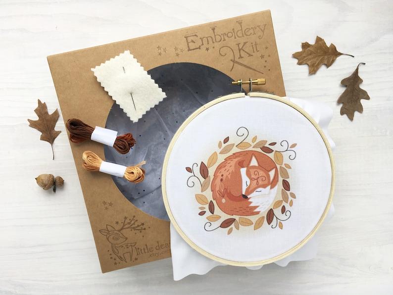 Sleeping Fox Hand Embroidery Kit DIY Craft Gift Modern image 0