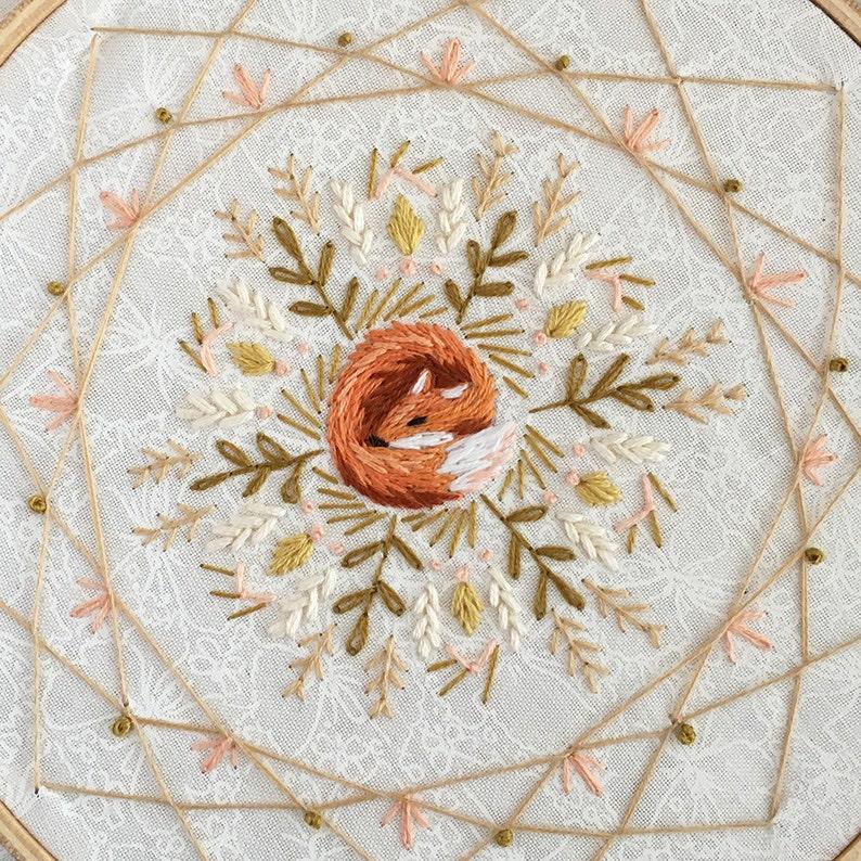 Sleeping Fox Mandala Dream Catcher Hand Embroidery Pattern image 1