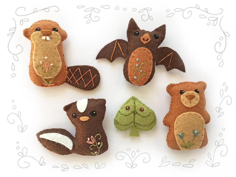 Woodland Creatures set 4 Felt Animals Sewing Pattern Plush image 0