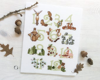 Woodland Numbers hand embroidery fabric sampler, forest animals