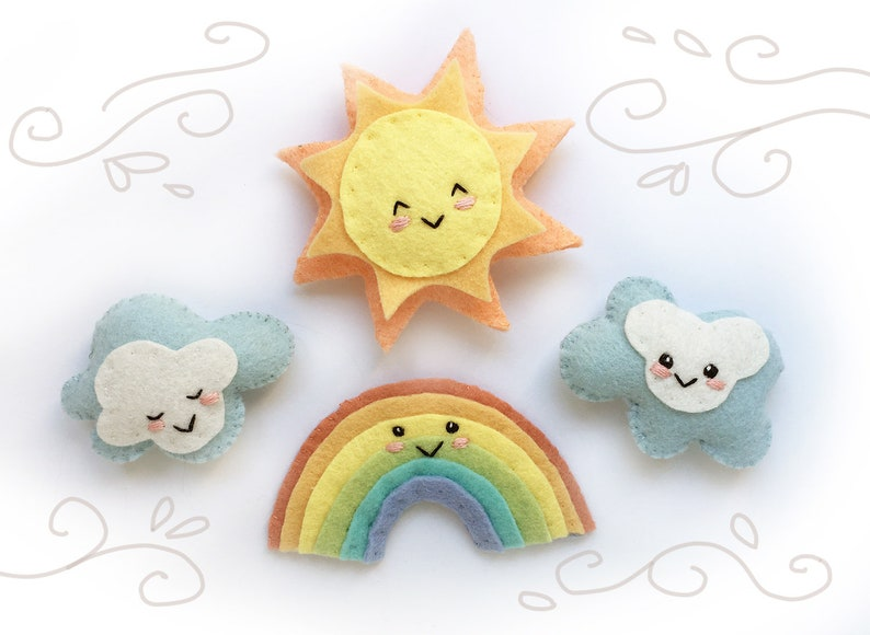 Rainbow Sun and Clouds PDF Plush Sewing Pattern SVG file for image 0