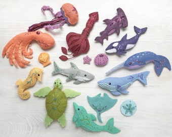 Plush Sewing pattern for 12 different Sea Creatures Felt Animals, PDF, SVG Download, Octopus, Narwhal, Dolphin, Felt Ornaments