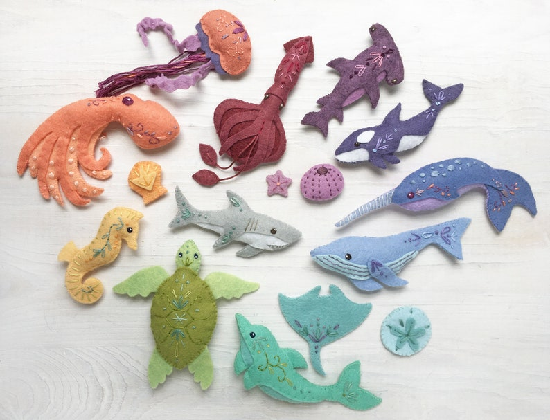Plush Sewing pattern for 12 different Sea Creatures Felt image 0