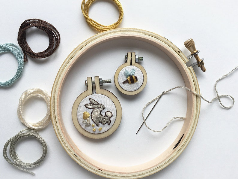 Mini Embroidery Hoop Charms Kit Bunny and Bee Beginner Hand image 0