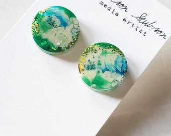 statement earrings, one of a kind, resin earrings, original gift ideas, stud earrings, unique style, bold whimsical jewelry