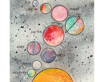solar system, education, education art, planet, space, planet art, mixed media, solar system art, saturn, mars, nursery, pluto, star, stars
