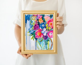 floral, flower, wildflower, sprint, bright, summer, fresh, flowers, contemporary, office, home decor, modern, boho, for her, botanical art,