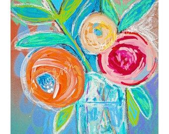 blooms, blossoms, contemporary art, modern art, modern flowers, roses, peony, still life, wall art, mixed media, whimsical flower, tangerine