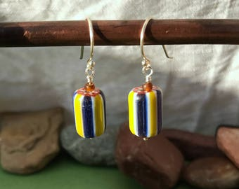 Glass Chevron | Sterling Silver Earrings | .75"