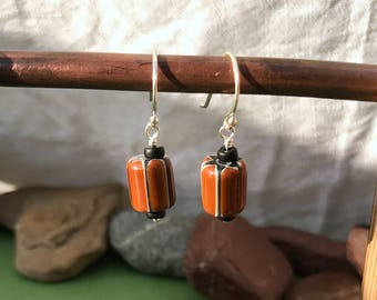 Chevron Glass | Sterling Silver Earrings | One of a Kind