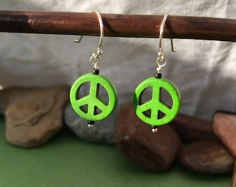 Peace Sign | Sterling Silver Earrings | .75""