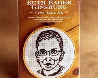 Supreme Court Justice Ruth Bader Ginsburg Counted Cross-Stitch Kit