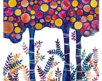 Original Watercolour Landscape Midsummer Nights Painting Watercolor Woodland Artwork