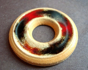 Red and Black Wheel Thrown Stoneware Clay and Fused Glass Pendant or Necklace