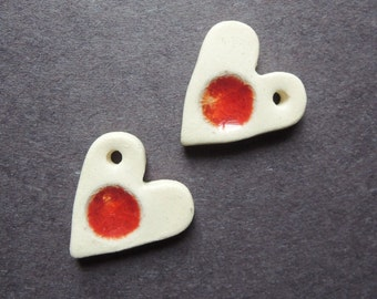 Hearts in Red Stoneware clay and recycled glass bead charm set