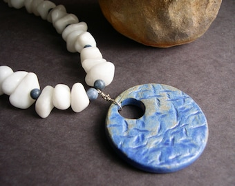 Blue and White Rocky stoneware Necklace