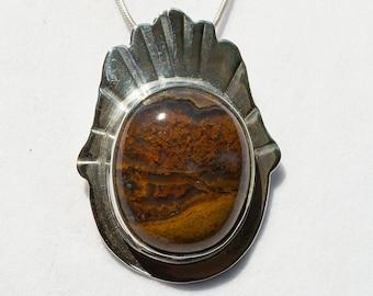 """""""Plume Agate"""" Handmade Sterling  Pendant"""