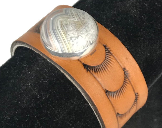 Featured listing image: Leather Cuff Bracelet  Western, Boho, Hand Tooled StampedWith Crazy Lace Agate Stone In Fine Silver Bezel, 7 Inch Cuff