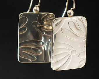 Lovely Dainty Floral Patterned Sterling Silver Dangling Earrings Handmade,