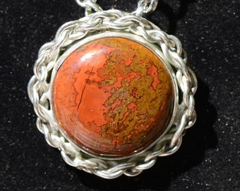 Handmade Sterling  Pendant with  Laguna Crazy Lace Agate Cabochon