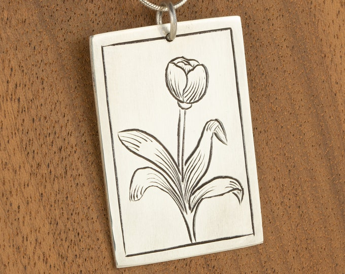 Featured listing image: Silver Charm For Women, Tulip Necklace, Flower Pendant, Stocking Stuffer For Her, Cute Necklace, Holiday Gifts For Mom, Ready to ship