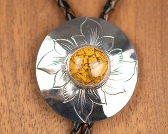 Bolo Tie With Stone, Hand Engraved Sterling Silver Handmade Bolo,  Natural Stone Bolo, Anniversary Necklace For Men,