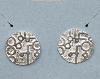 Circles and Lines Fine Silver Post Earrings, Nickel Free Post, Small, Delicate and Funky,