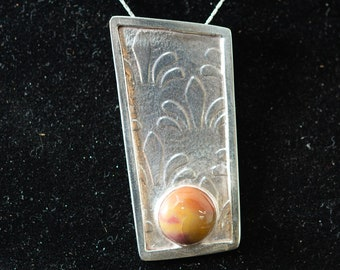 Handmade Sterling  Pendant with a Red and Yellow Agate Stone