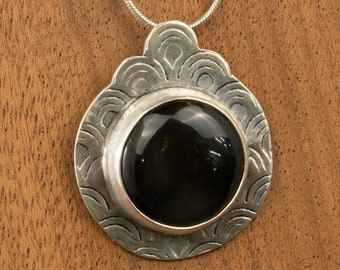 Black Obsidian Silver Statement Pendant Necklace  For Women Mothers Day Gift From Daughter Gemstone Pendant Art Deco Necklace Gothic Jewelry