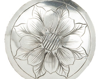 Conchos For Leather Sterling Silver Western Hand Engraved Conchos For Jewelry, Flower Conchos, Screw Back, Chicago Screw, Strap Loop