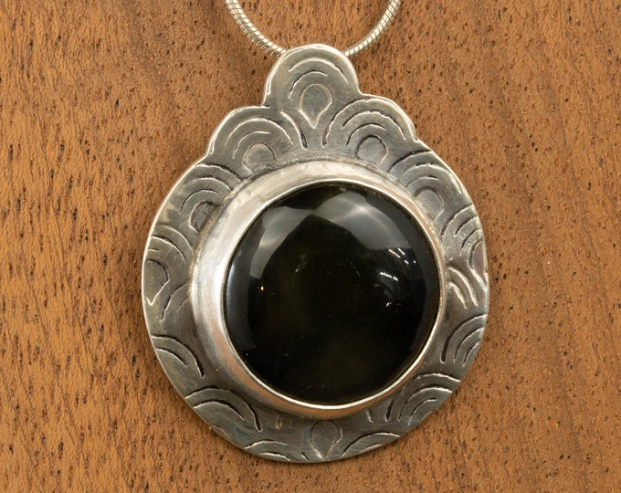 Featured listing image: Unique, One of a Kind Sterling Silver Pendant with a Black Obsidian Stone, Handmade Necklace,  Natural Stone Jewelry,Art Deco Jewelry