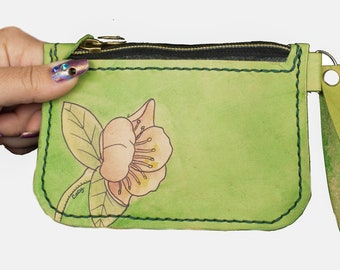 Leather Wristlet Wallet Green Small Coin Purse Floral Design Cottagecore Wallet ,Valentines Gift For Her Wristlet Bag, Coin Pouch