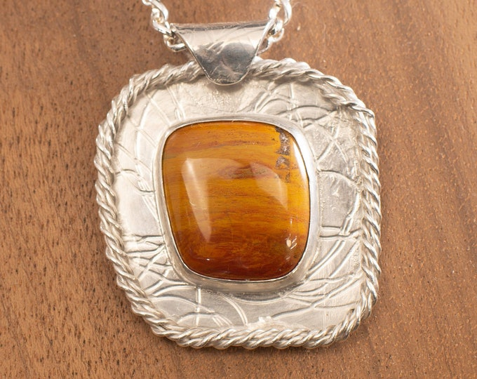 Featured listing image: Large Stunning Arizona Rainbow Petrified Wood Cabochon and Sterling Silver Pendant