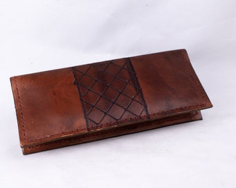 Tooled Leather Western Long wallet, Tooled Leather 6 Card Wallet with 2 Large Pockets, Western Wallet