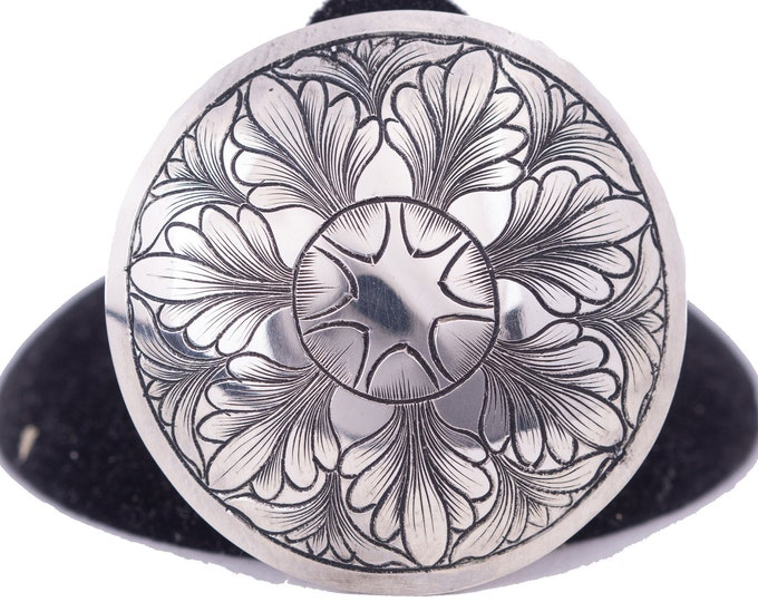 """Featured listing image: Concho For Saddle 1.50"""", Bridle Rosettes, Bridle Concho For Leather Handmade Sterling Silver Western Engraved  Loop Back Concho For Jewelry"""