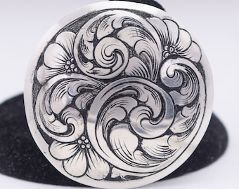 Bridle Rosettes, 3/4 inch Concho Sterling Silver Western Bridle Hand Engraved Saddle Concho Loop Back Concho Bag Making Supplies For Jewelry