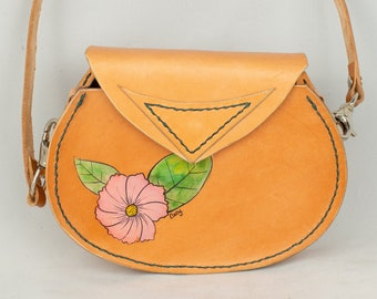 Leather Purse, Spring Purse,  Phone, Passport Bag, Hand Painted Pink Flower