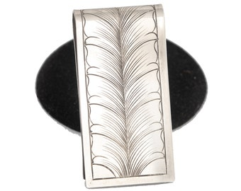 Sterling Silver Money Clip For Men, Card Holder, Stocking Stuffers For Dad, Western Gifts For Men, Christmas Gifts for Dad from Daughter