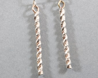 Rope, Cable, Twisted Sterling Silver Dangle Earrings,