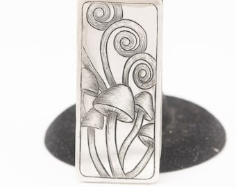Money Clip For Men, Card Holder, Hand Engraved, Mushroom Gifts, Cool Money Clip, Fathers Day Gift From Daughter, Gift For Men Birthday